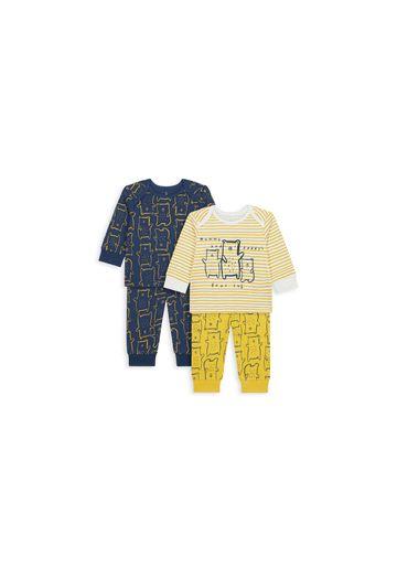 Mothercare | Boys Full Sleeves Pyjama Set Bear Print - Pack Of 2 - Yellow Navy