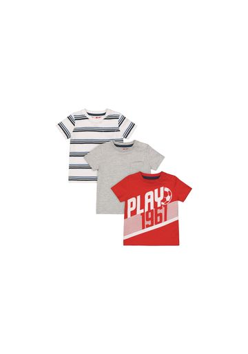 Mothercare | Boys Half Sleeves T-Shirt Stripe And Text Print - Pack Of 3 - Multicolor