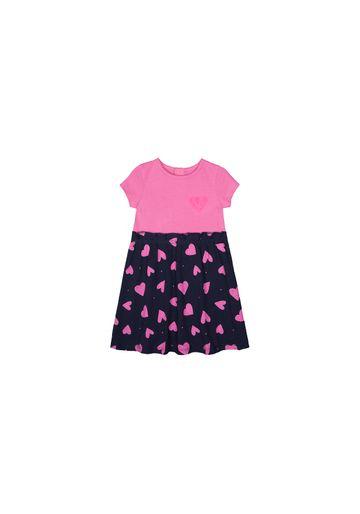 Mothercare | Girls Half Sleeves Dress Sequin Heart - Pink Navy