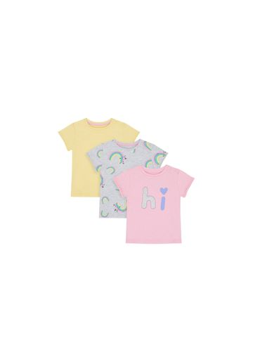 Mothercare | Girls Half Sleeves T-Shirt Printed - Pack Of 3 - Multicolor