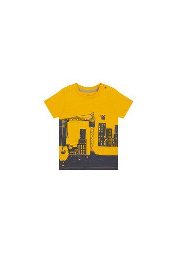 Mothercare | Boys Half Sleeves T-Shirt Construction Print - Mustard