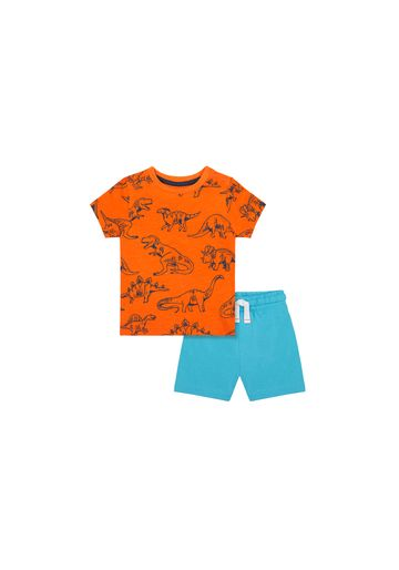 Mothercare   Boys Half Sleeves T-Shirt And Shorts Set Dino Print - Orange Blue