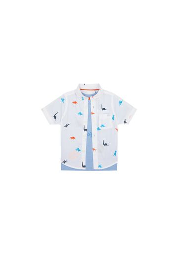 Mothercare | Boys Half Sleeves Shirt And Tee Set Dino Print - Blue White