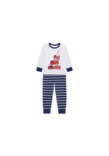 Mothercare | Boys Full Sleeves Pyjama Set Fire Engine Print - White Navy