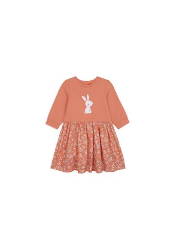 Mothercare | Girls Full Sleeves Dress Bunny Embroidery - Coral