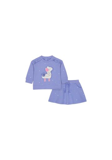 Mothercare   Girls Full Sleeves Sweat Top And Skirt Set 3D Details - Purple