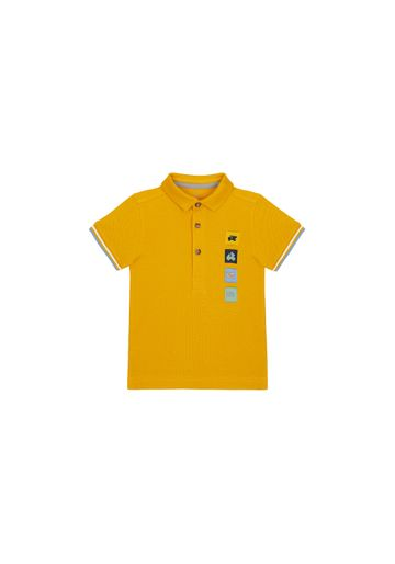 Mothercare | Boys Half Sleeves Pique Polo T-Shirt Vehicle Patchwork - Mustard