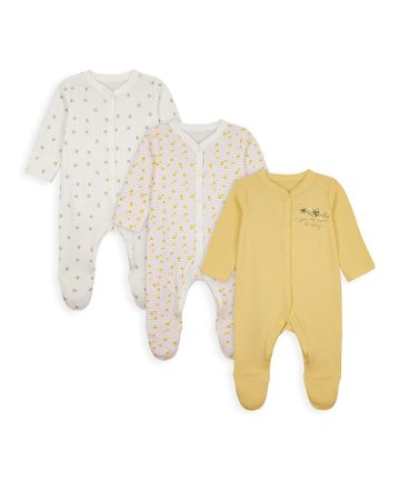 Mothercare | Girls Full Sleeves Sleepsuit Bee Embroidery - Pack Of 3 - Yellow Beige