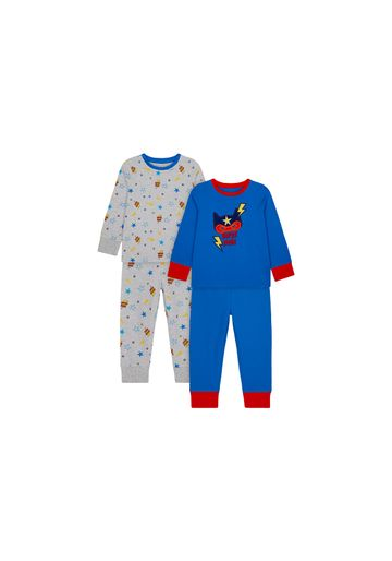 Mothercare   Boys Full Sleeves Pyjama Set Super Hero Print - Pack Of 2 - Blue Grey