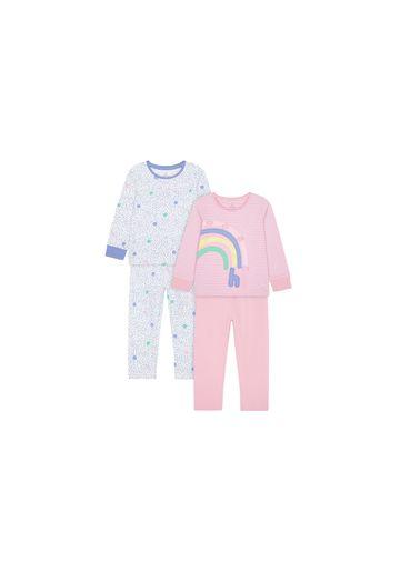 Mothercare | Girls Full Sleeves Pyjama Set Rainbow Patchwork - Pack Of 2 - Pink White