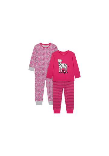 Mothercare | Girls Full Sleeves Pyjama Set Zebra Embroidery - Pack Of 2 - Pink