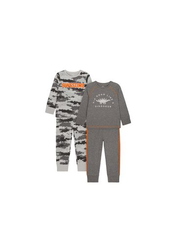 Mothercare | Boys Full Sleeves Pyjama Set Text Print And Embroidery - Pack Of 2 - Grey