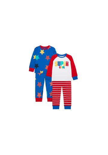 Mothercare | Boys Full Sleeves Pyjama Set Star And Text Print - Pack Of 2 - Red Blue
