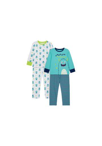 Mothercare   Boys Full Sleeves Pyjama Set Monster Print - Pack Of 2 - Blue White