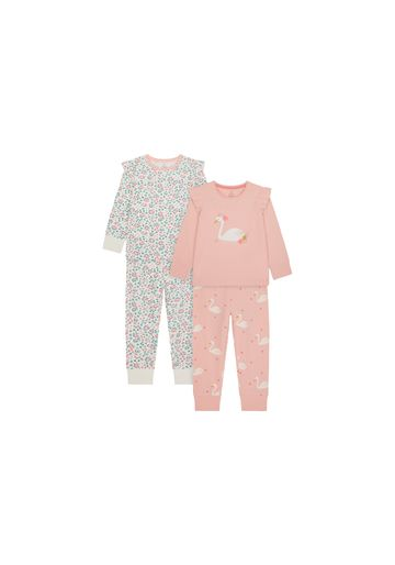 Mothercare | Girls Full Sleeves Pyjama Set Swan Sparkle Embroidery - Pack Of 2 - Pink White
