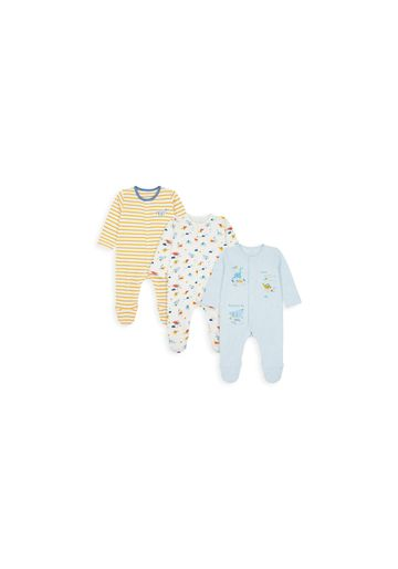 Mothercare | Boys Full Sleeves Sleepsuit Striped And Dino Print - Pack Of 3 - Multicolor