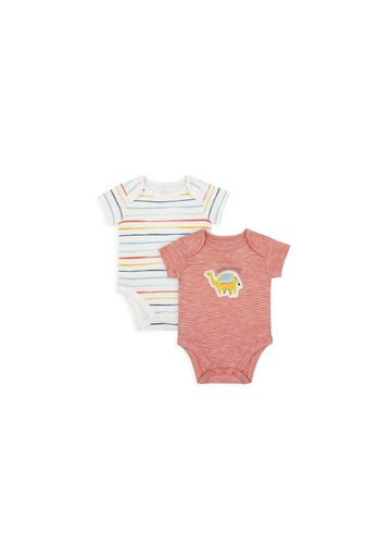 Mothercare   Boys Half Sleeves Bodysuit Camel Print - Pack Of 2 - Multicolor
