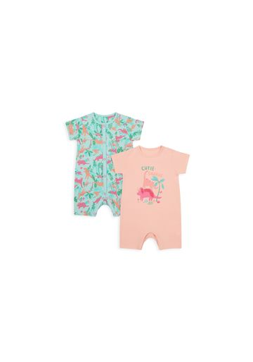 Mothercare | Girls Half Sleeves Romper Dino Print - Pack Of 2 - Multicolor