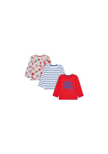 Mothercare   Girls Full Sleeves T-Shirt Stripe And Apple Print - Pack Of 3 - Multicolor