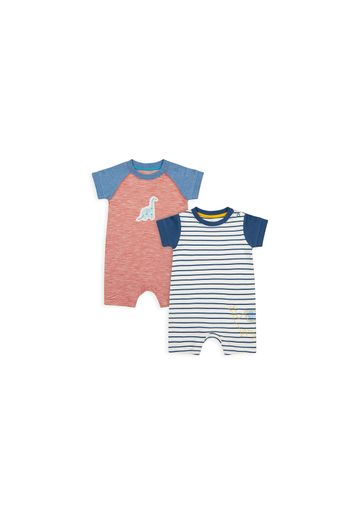 Mothercare   Boys Half Sleeves Romper Striped And Dino Patchwork - Pack Of 2 - Multicolor