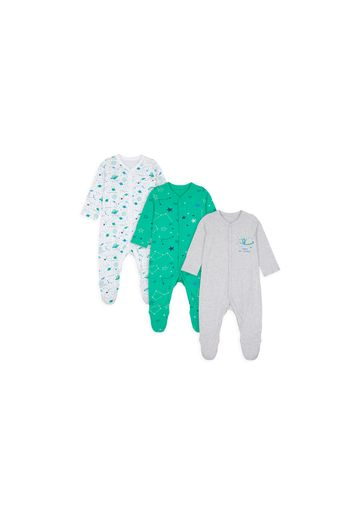 Mothercare | Boys Full Sleeves Sleepsuit Space And Star Print - Pack Of 3 - Multicolor