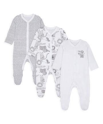 Mothercare | Unisex Full Sleeves Sleepsuit Animal Print - Pack Of 3 - White
