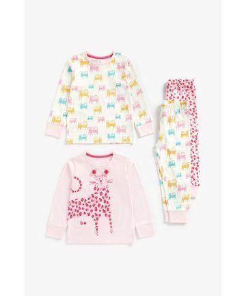 Mothercare | Girls Full Sleeves Pyjama Set Leopard Print - Pack Of 2 - Multicolor