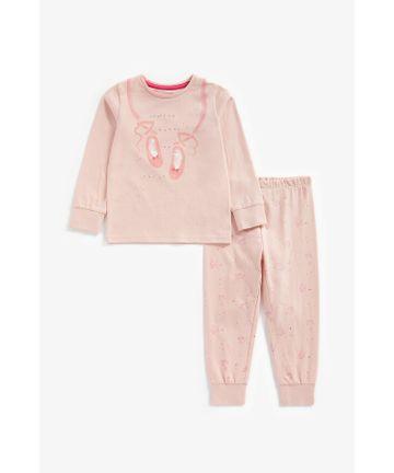 Mothercare | Girls Full Sleeves Pyjama Set Ballet Print - Pink