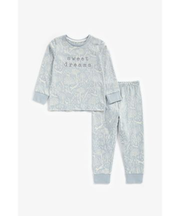 Mothercare | Girls Full Sleeves Pyjama Set Slogan Print - Blue