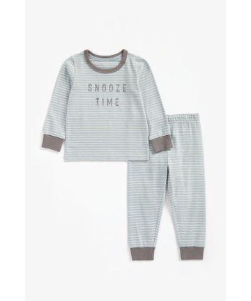 Mothercare | Boys Full Sleeves Pyjama Set Striped And Slogan Print - Blue