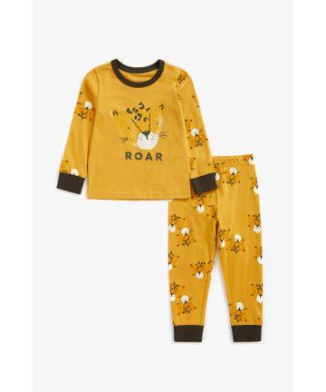 Mothercare   Boys Full Sleeves Pyjama Set Leopard Print - Mustard