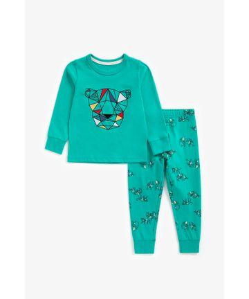 Mothercare | Boys Full Sleeves Pyjama Set Geo Safari Print - Teal