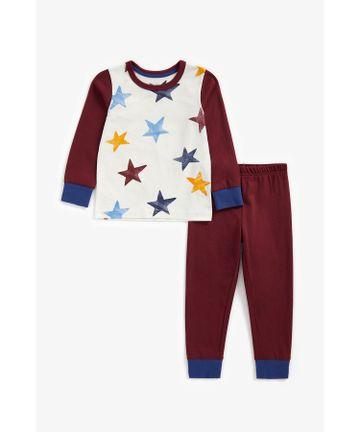 Mothercare | Boys Full Sleeves Pyjama Set Star Print - Burgundy