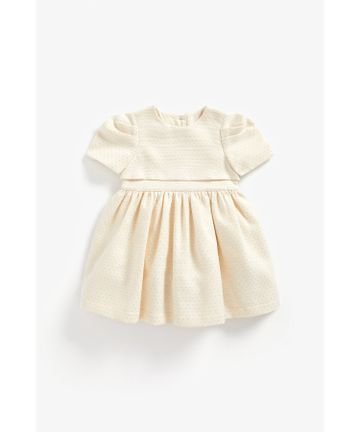 Mothercare | Girls Half Sleeves Party Dress With Bow - Cream