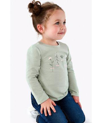 Mothercare | Girls Full Sleeves T-Shirt Flower Print - Green