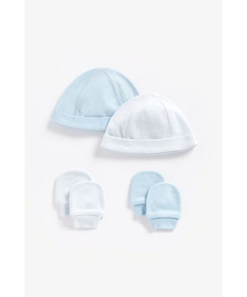 Mothercare   Boys Hat And Mitts Made Of Organic Cotton - Pack Of 4 - Blue