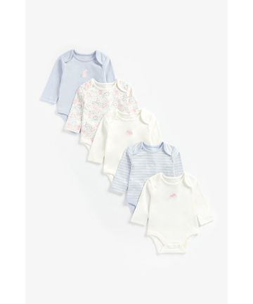 Mothercare | Girls Full Sleeves Bodysuit Stripe And Bunny Print - Pack Of 5 - Multicolor