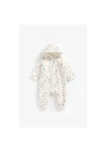 Mothercare   Girls Full Sleeves Printed Snowsuit Frill Detail - Multicolor