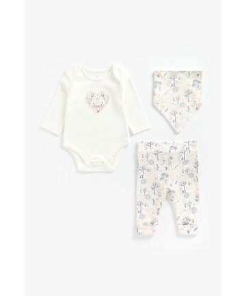 Mothercare | Girls Full Sleeves 3 Piece Set Heart Patchwork - Multicolor