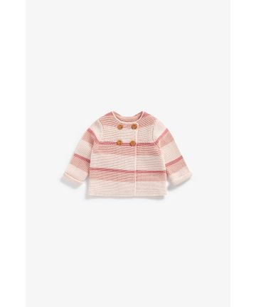 Mothercare   Girls Full Sleeves Striped Cardigan With Button Fastening - Pink