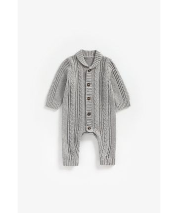 Mothercare | Boys Full Sleeves Romper Cable Knit - Grey