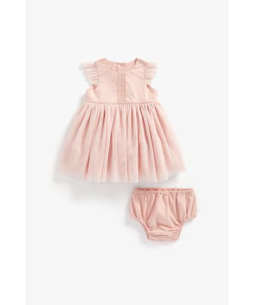 Mothercare   Girls Half Sleeves Mesh Party Dress Lace Detail - Pink