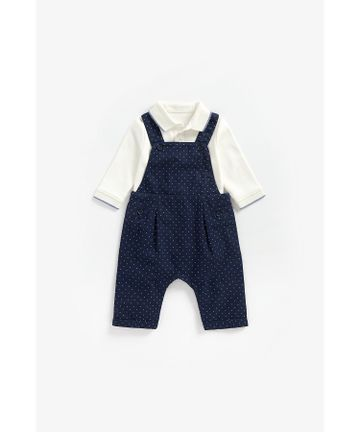Mothercare | Boys Full Sleeves Polo Bodysuit And Dungaree Set Spot Print - Navy