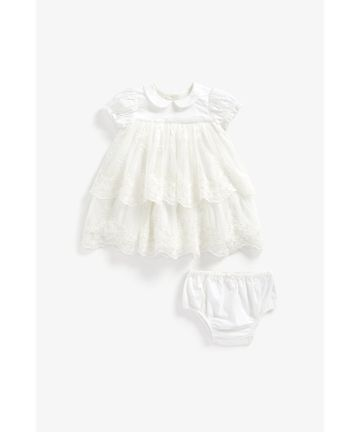 Mothercare | Girls Half Sleeves Party Dress Embroidered - White