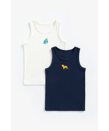Mothercare   Boys Sleeveless Vest Animal Print - Pack Of 2 - Multicolor