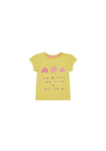 Mothercare | Girls Half Sleeves T-Shirt Slogan Print - Yellow