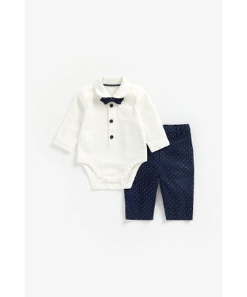 Mothercare | Boys Full Sleeves Bodysuit, Bow Tie And Trousers Party Set - Navy