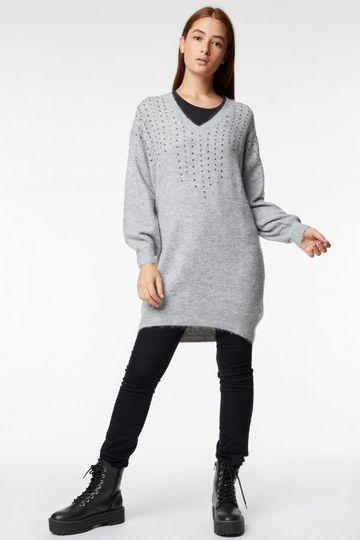 GAS | Grey Melange Women's Awa Strass Embellished Dress