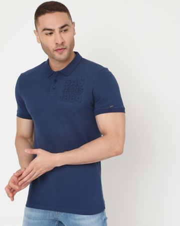 GAS | Men's Ralph Emboss Ec In Slim Fit Solid Polo