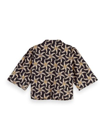 Scotch & Soda   Printed cropped shirt with puffy sleeve